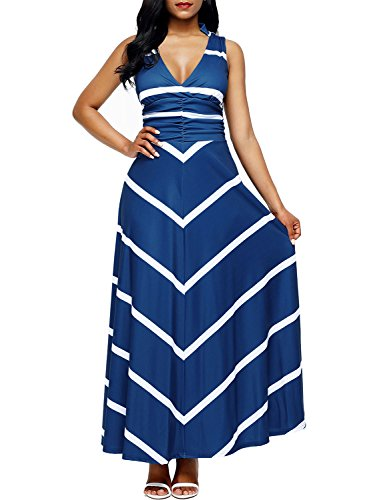 6b7fa6f94dc8c0 Lovezesent Women s Striped Print V Neck Sleeveless Tank Maxi Casual Dress