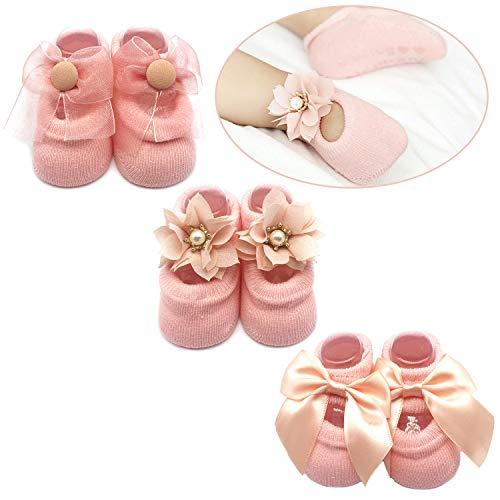 f605c4ace Baby Girl Newborn Baby Photography Props Anti Slip Flower Pearl Bownote  Socks